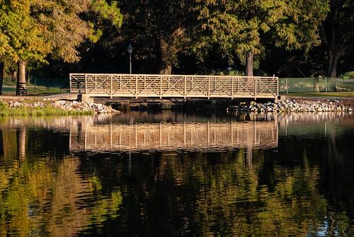 Walking bridge on the lake
