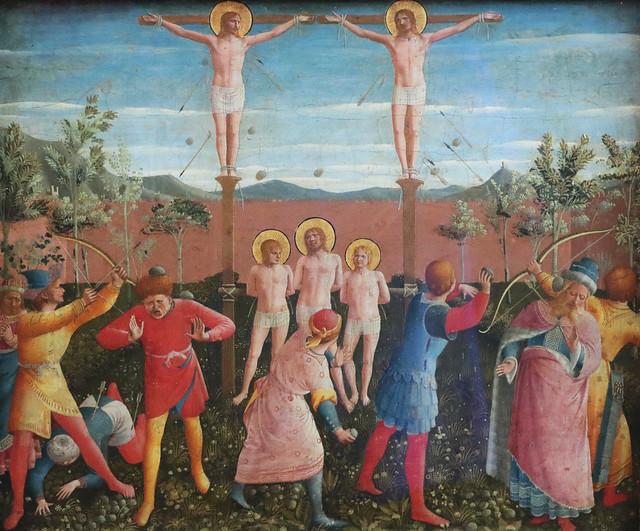 Beato Angelico (Guido di Pietro - Vicchio, 1395 circa – Roma, 18 febbraio 1455) - Crocifissione dei santi Cosma e Damiano (1443) tempera su tavola  dimensioni 38×46 cm - Alte Pinakothek, Monaco di Baviera