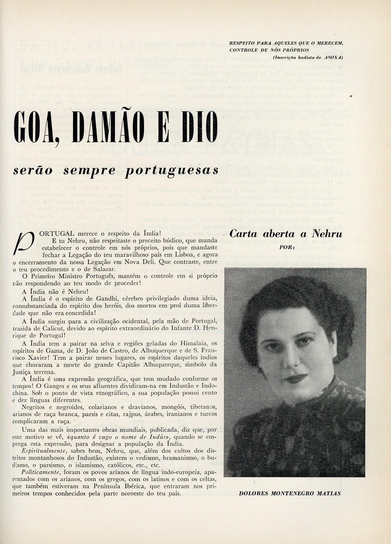 Dolores Montenegro Matias, «Goa, Damão e Dio serão sempre portuguesas