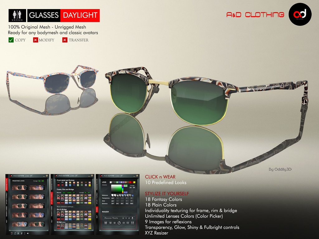 ! A&D Clothing - Glasses -Daylight-  Deluxe