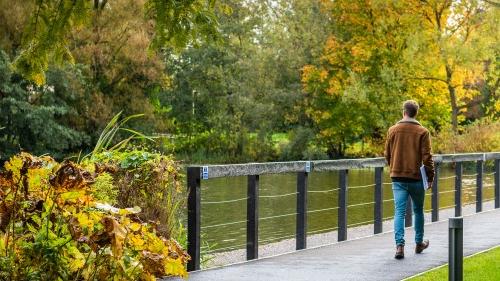 Student walking over an autumnal bridge