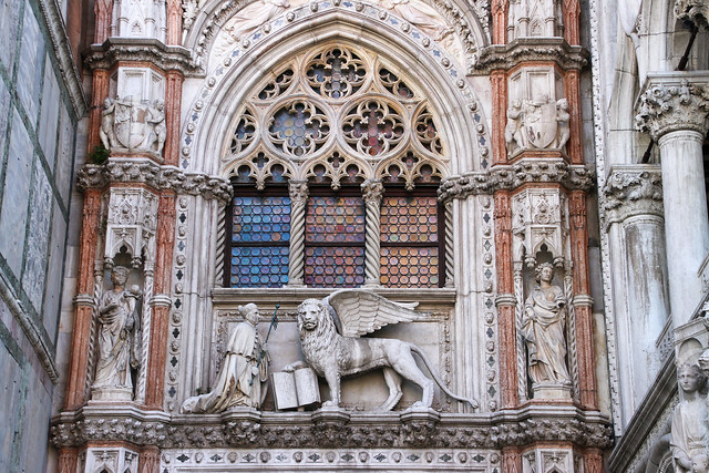 The winged lion of St. Mark (San Marco) at the portal to the Doge's Palace, Venice, Italy