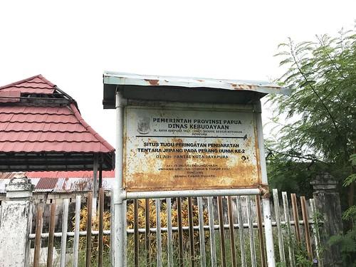 Informatiebord monument Japanse landing in Hollandia, Jayapura, Papua