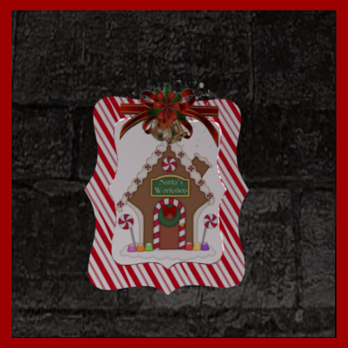 DiamanteNero-Chrystmas Frame Santa's Workshopstriped hunt prize