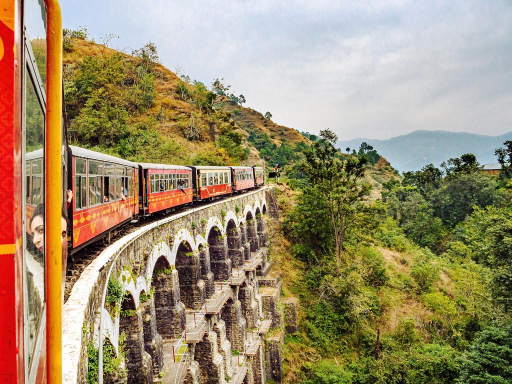 Crossing the Kanoh Viaduct on the Kalka-Shimla Hill Railway