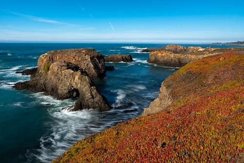 mendocino california coast coastal ocean seascape landscape long exposure pacific rocks rock iceplant red blue sky