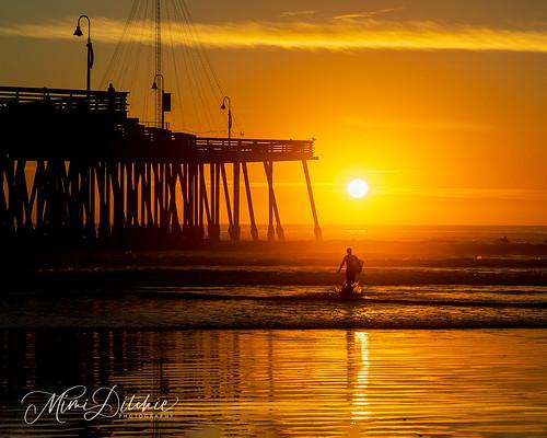pacificocean pismo pismobeach beach seascape sunset water pier ocean sun reflection surf surfer getty gettyimages mimiditchie mimiditchiephotography