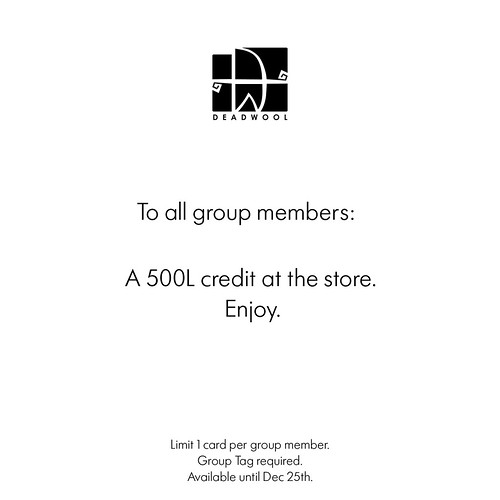 Deadwool - 500L Gift Card to all group members.
