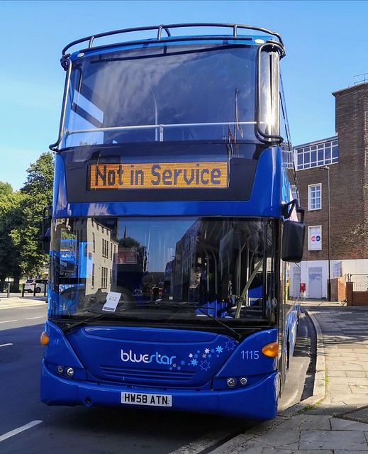 Bluestar 1115 is parked on Castle Way while Not in Service. - HW58 ATN - 22nd July 2020