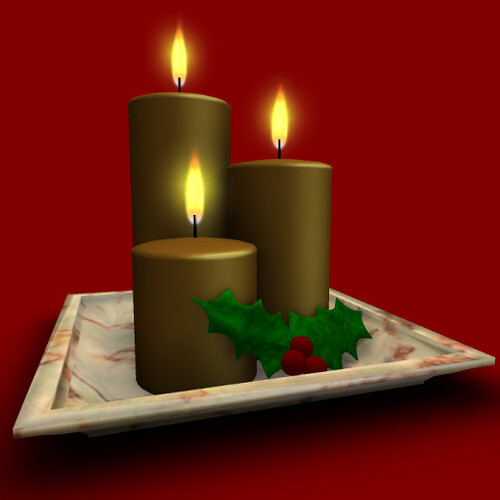 Christmas Delights-Holly & Gold Candles on Plate Hunt