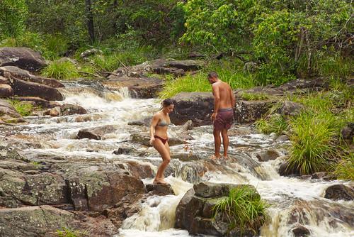 water australia queensland motharmountain gympie waterfall creek landscape people girl boy rocks bolder boldercreek