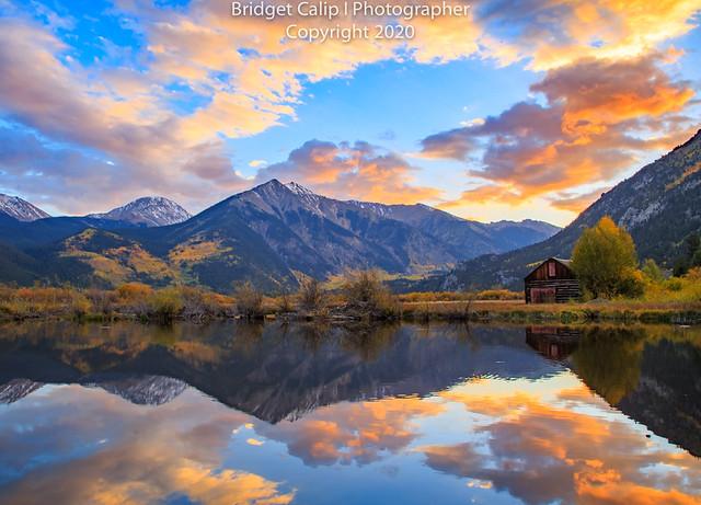 Fiery Fall Sunset at Twin Lakes