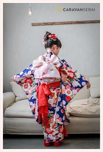 七五三 7歳の女の子 ブルーのお着物にピンクの帯