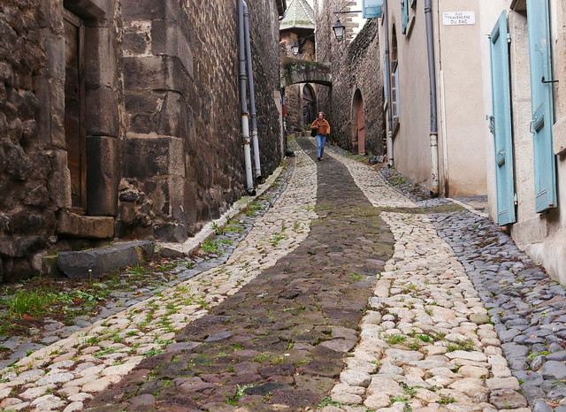 Going down the cobbled street