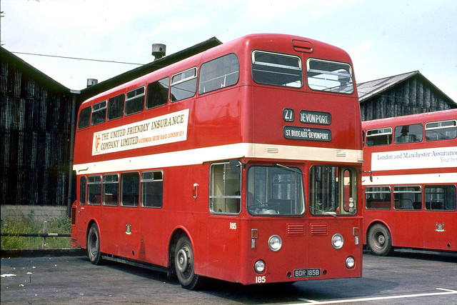 Plymouth City Transport . 185 BDR185B . Milehouse Bus garage , Plymouth , Devon . Sunday afternoon 16th-July-1972 .