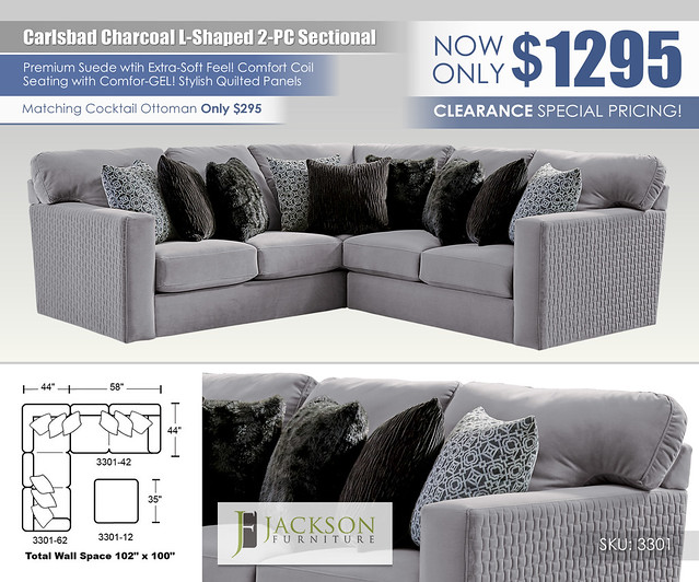 Carlsbad Charcoal L Shaped 2PC Sectional_3301