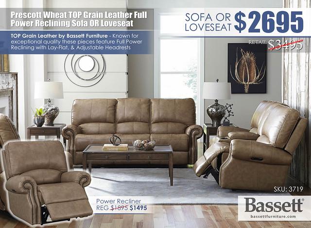 Prescott Wheat Top Grain Leather Power Reclining Sofa OR Loveseat Special_Bassett_3179_Dec2020