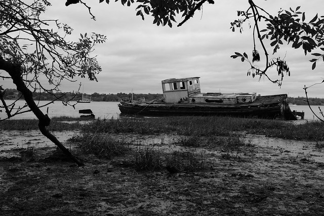 Boat wreck at Pin Mill in Suffolk - black and white
