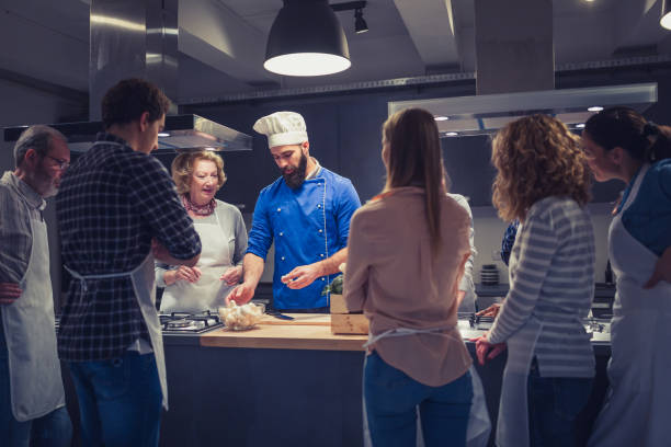 People enjoying a cooking class