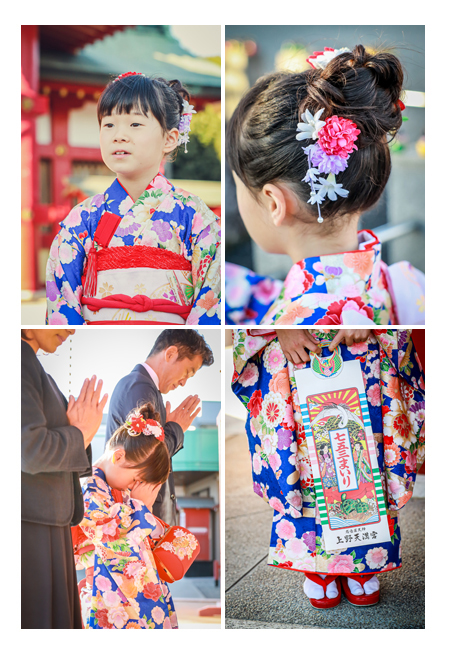 冬(12月)の七五三 上野天満宮 千歳飴 7歳の女の子