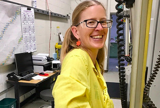 "Los Alamos scientist Veronika Mocko processing cerium-134 in the ""Hot Cells"" at Los Alamos National Laboratory."