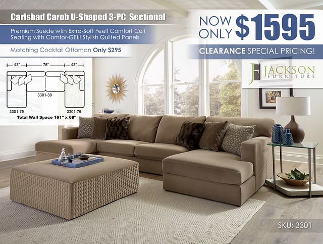 Carlsbad Carob U Shaped 3PC Sectional_3301