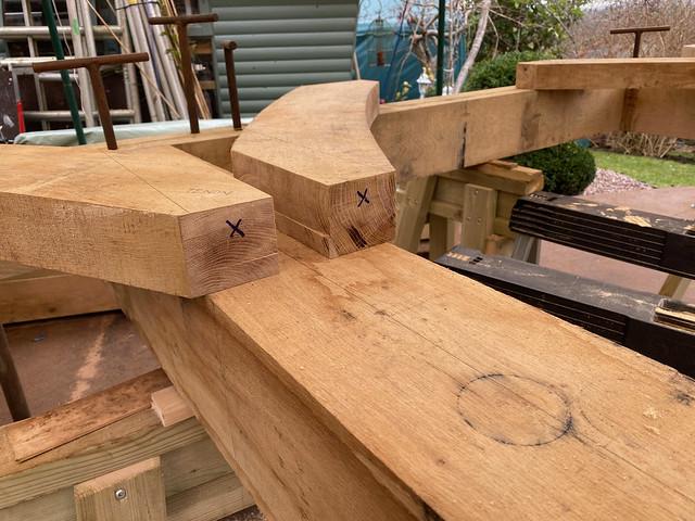 Braces cut to shape - waste marked
