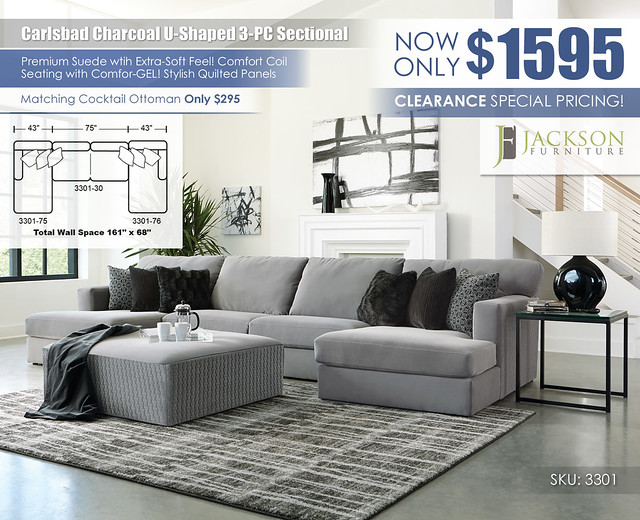 Carlsbad Charcoal U Shaped 3PC Sectional_3301