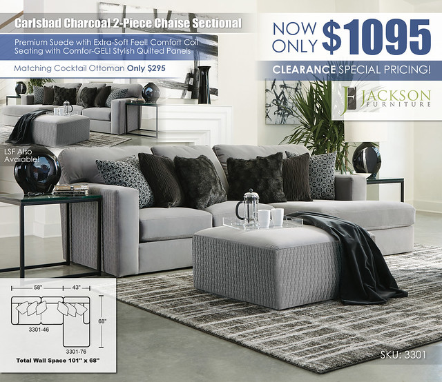 Carlsbad Charcoal 2PC Chaise Sectional_3301