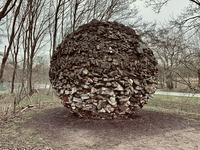 Artwork made from debris of 1945 bombing of the Bezuidenhout (Den Haag, The Netherlands 2020)