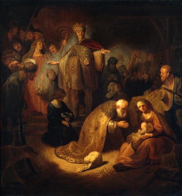 Рембрандт Харменс ван Рейн, школа. 1606-1669. Поклонение волхвов. Эрмитаж