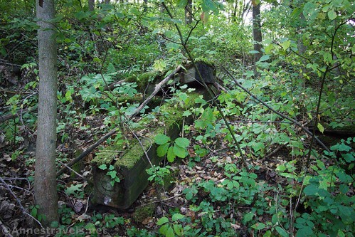 Old railroad ties near the remains of the Genesee Viaduct along the Genesee Valley Greenway, Belfast, New York