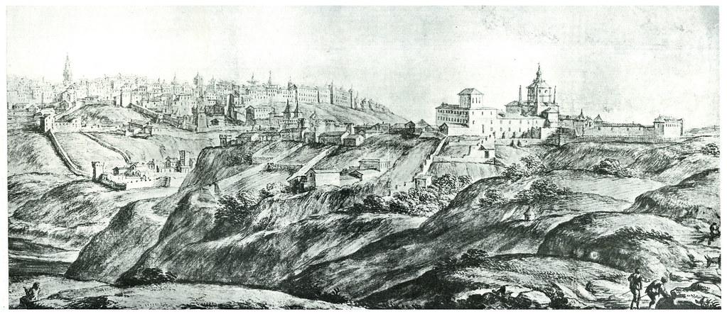 Toledo dibujado por Pier María Baldi, Biblioteca Medicea Laurenciana (1668-1669). Parte derecha.