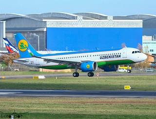 F-WWIO / UK-32023 Airbus A320-251N Uzbekistan s/n 10423 - First flight - * Toulouse Blagnac 2020 *