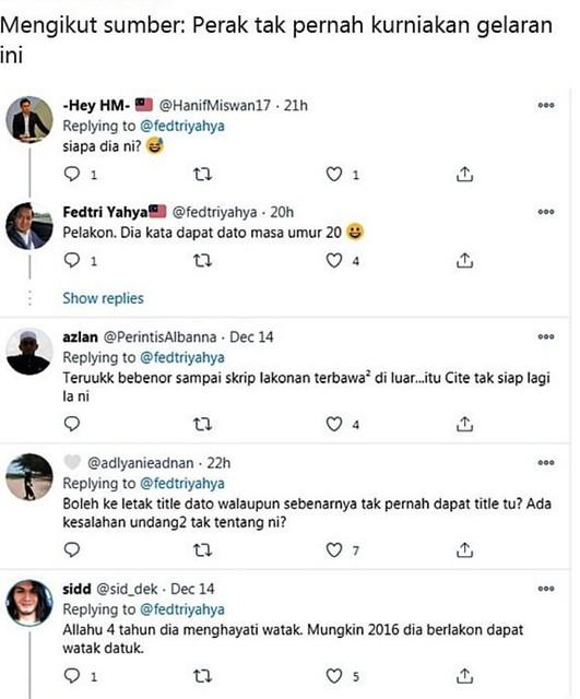 Tak Wujud Gelaran Tu, Fedtri Yahya Persoal Anugerah Datuk Yang Diterima Shah Hazvee