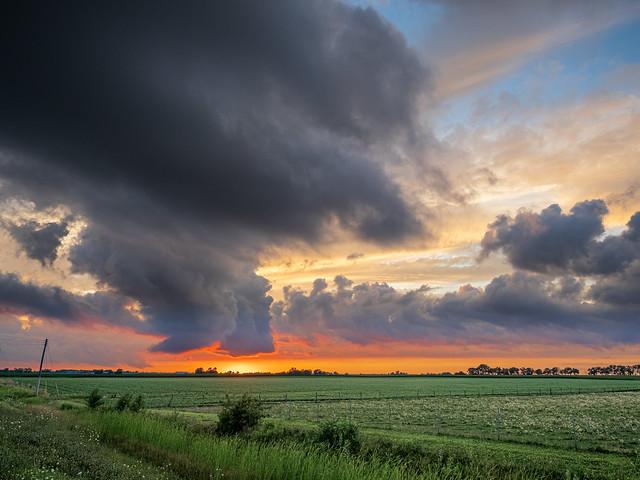 Threatening Prairie Skies at Sunset