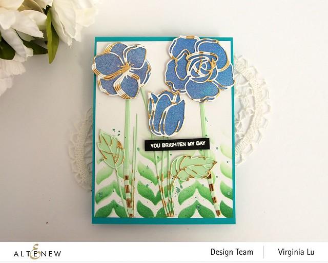 Altenew-Floral Doodles Die Set-Leaf Drop Stencil-Gold Stream Washi Tape -002