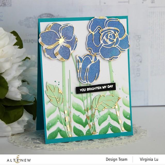 Altenew-Floral Doodles Die Set-Leaf Drop Stencil-Gold Stream Washi Tape