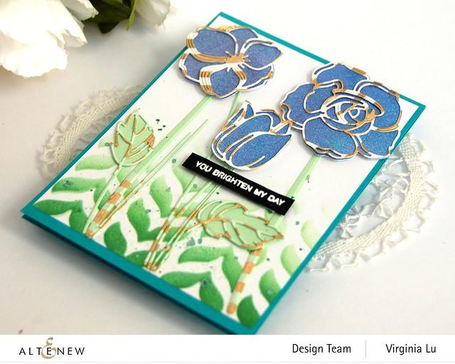 Altenew-Floral Doodles Die Set-Leaf Drop Stencil-Gold Stream Washi Tape -003