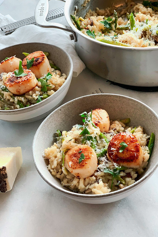 Risotto with Pan Seared Scallops (gluten-free + dairy-free)