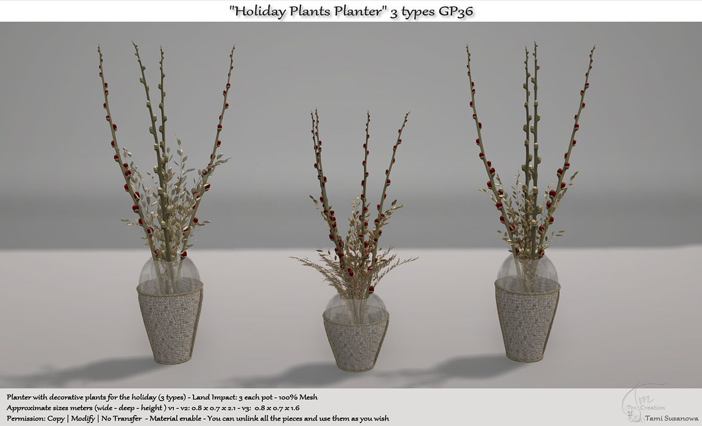 ".:Tm:.Creation ""Holiday Plants Planter"" 3 types GP36"