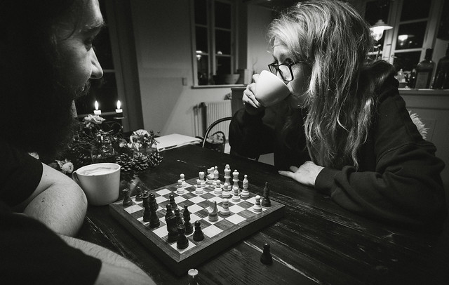 Coffee and Chess (she's losing...)