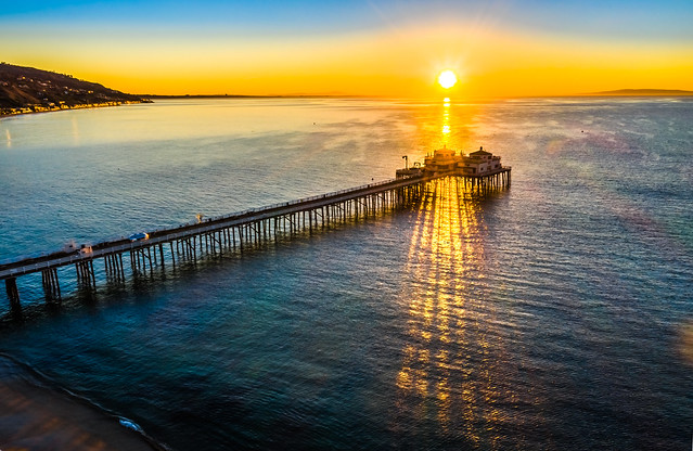 Malibu Pier Sunrise DJI Mavic 2 Pro Drone Aerial Photography Malibu Beach Pier Fine Art Landscape Nature Photography! California Seascape Ocean Art! Elliot McGucken Master Drone Aerial Nature Photographer! Hasselblad Mavic 2 Pro L1D-20c 20 mp Camera!