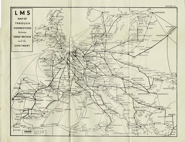 London Midland & Scottish Railway map of through connections between Great Britain and the Continent, 1939