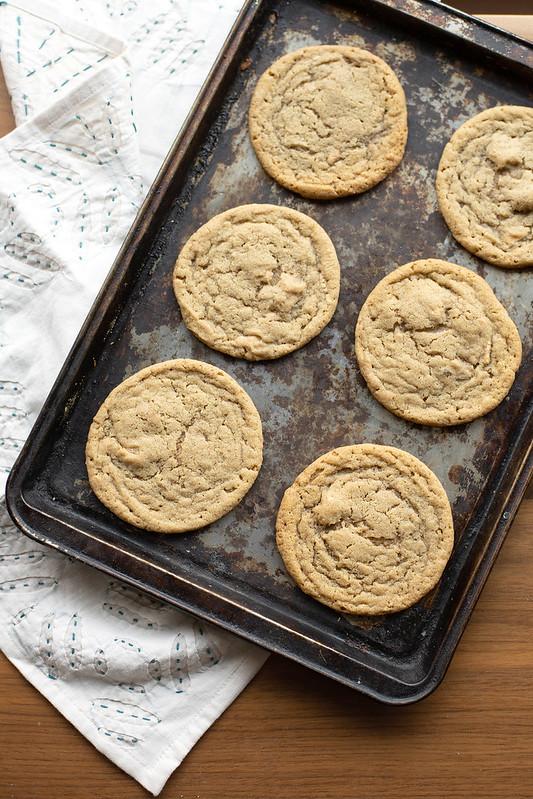 Tahini Blond Chocolate Cookies on a Baking Sheet