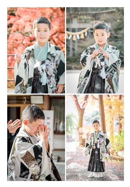七五三 紅葉シーズン グレーの羽織に黒の袴