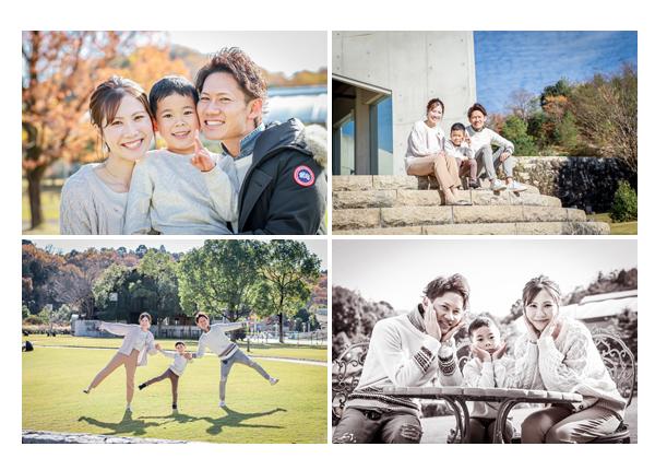 芝生の上で家族写真 親子写真