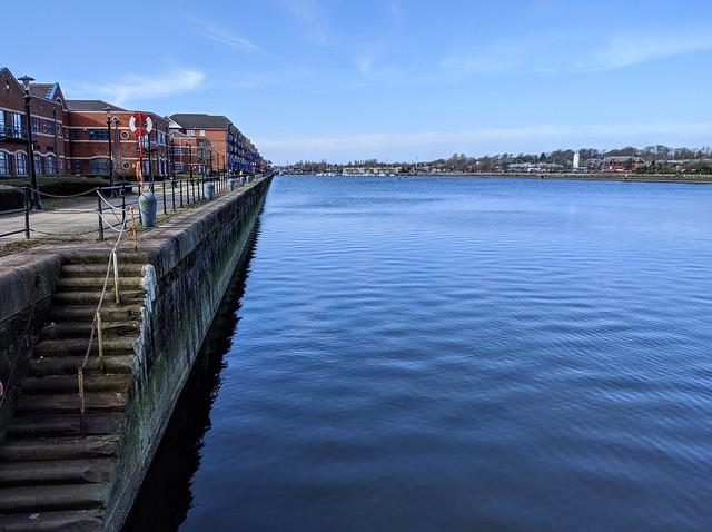 Blue water at Preston Docks