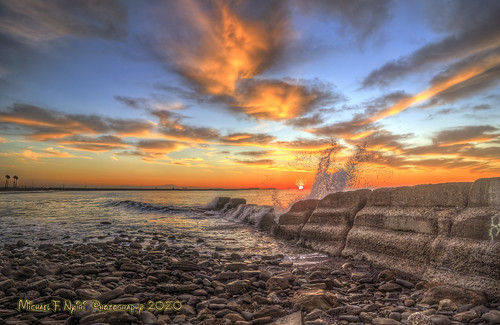 cabrillobeach sanpedro california southerncalifornia splash waves sunrise clouds rocks breakwater