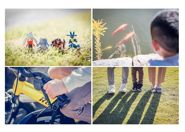 芝生に置かれたポケモンのフィギュア 親子三人の足